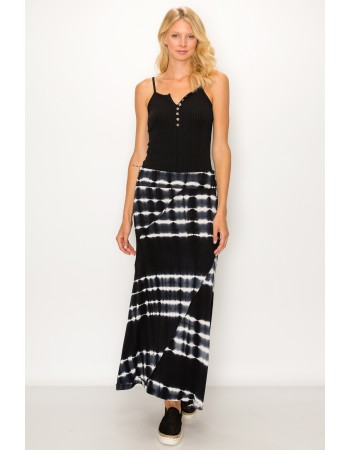 Tie Dye Rayon Span Fold Over Maxi Skirt - Black / White